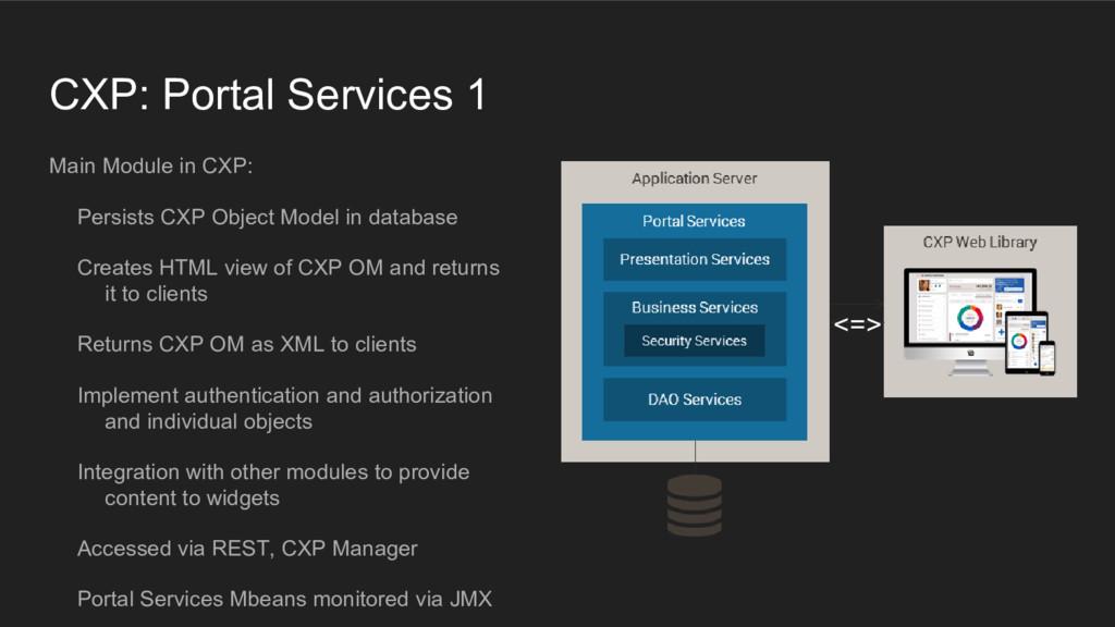 CXP: Portal Services 1 Main Module in CXP: Pers...