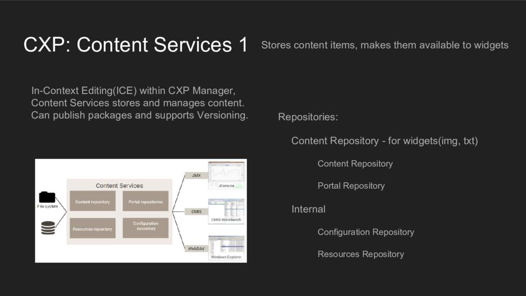 CXP: Content Services 1 Stores content items, m...