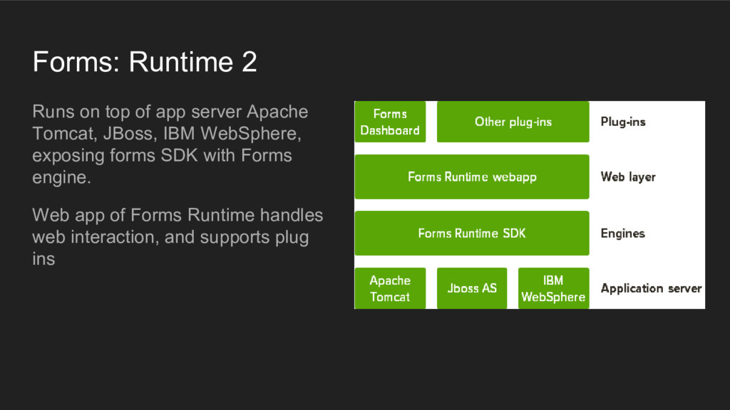 Forms: Runtime 2 Runs on top of app server Apac...
