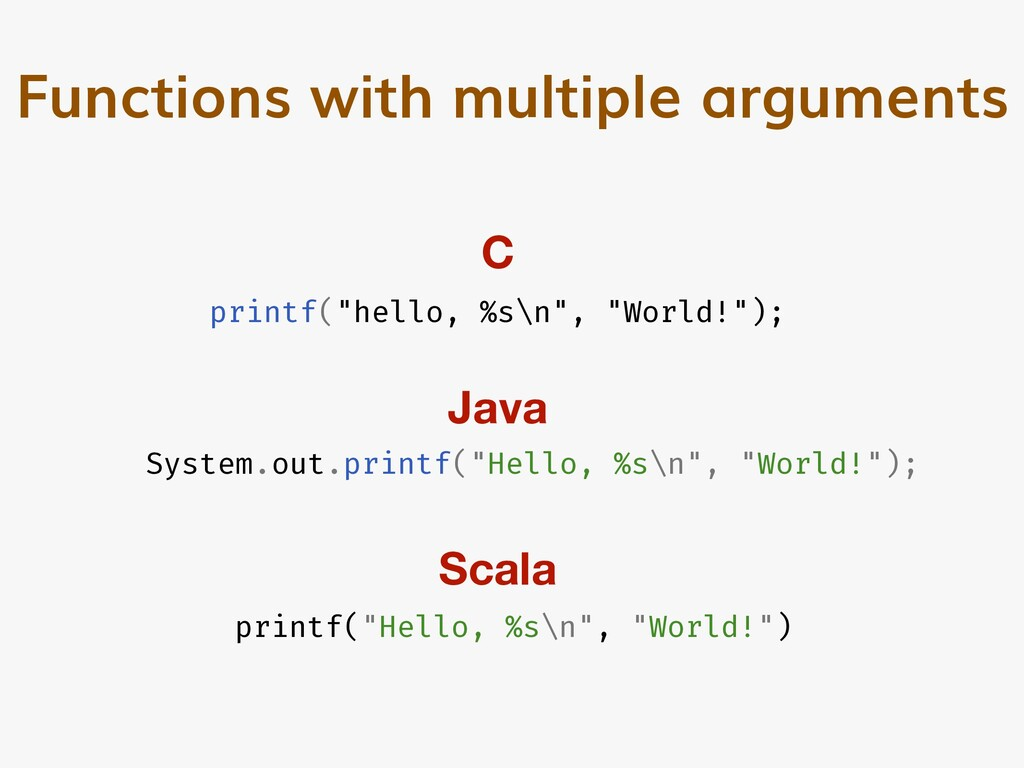 "Functions with multiple arguments printf(""hello..."