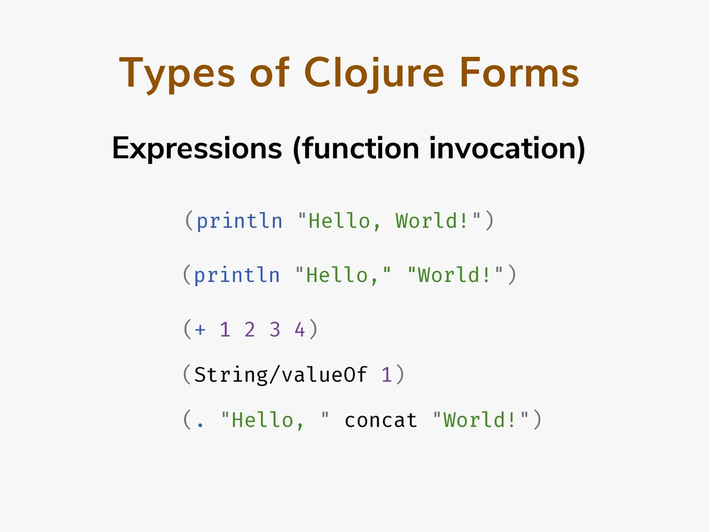 Types of Clojure Forms Expressions (function in...
