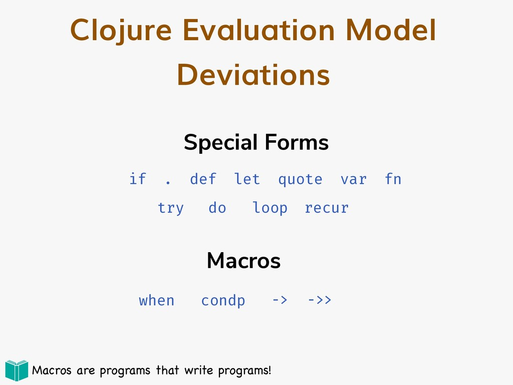 Clojure Evaluation Model Deviations Special For...
