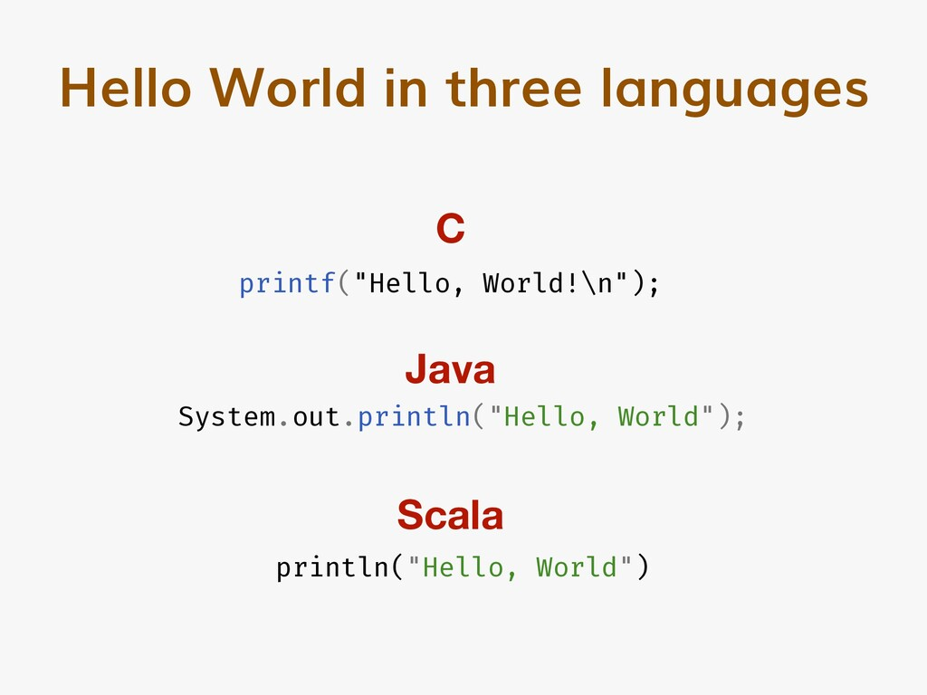 "Hello World in three languages printf(""Hello, W..."