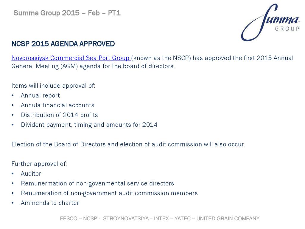NCSP 2015 AGENDA APPROVED Novorossiysk Commerci...