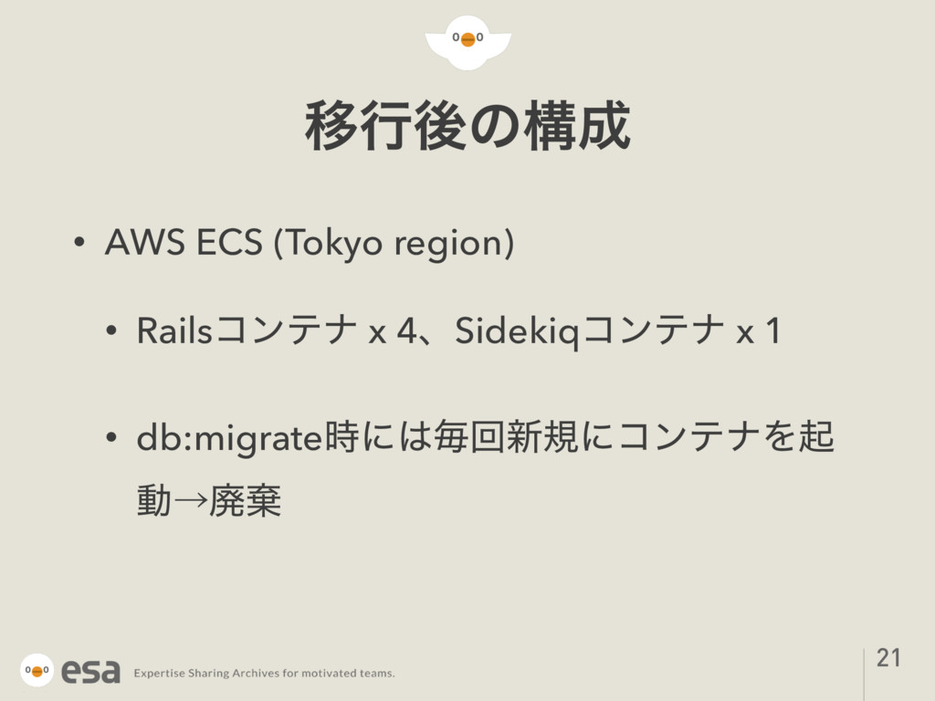 Ҡߦޙͷߏ • AWS ECS (Tokyo region) • Railsίϯςφ x 4...