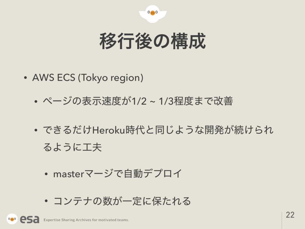 Ҡߦޙͷߏ • AWS ECS (Tokyo region) • ϖʔδͷද͕ࣔ1/2 ...