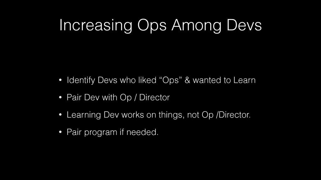 Increasing Ops Among Devs • Identify Devs who l...