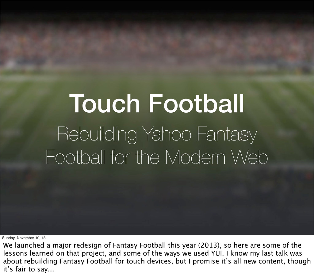 Touch Football Rebuilding Yahoo Fantasy Footbal...