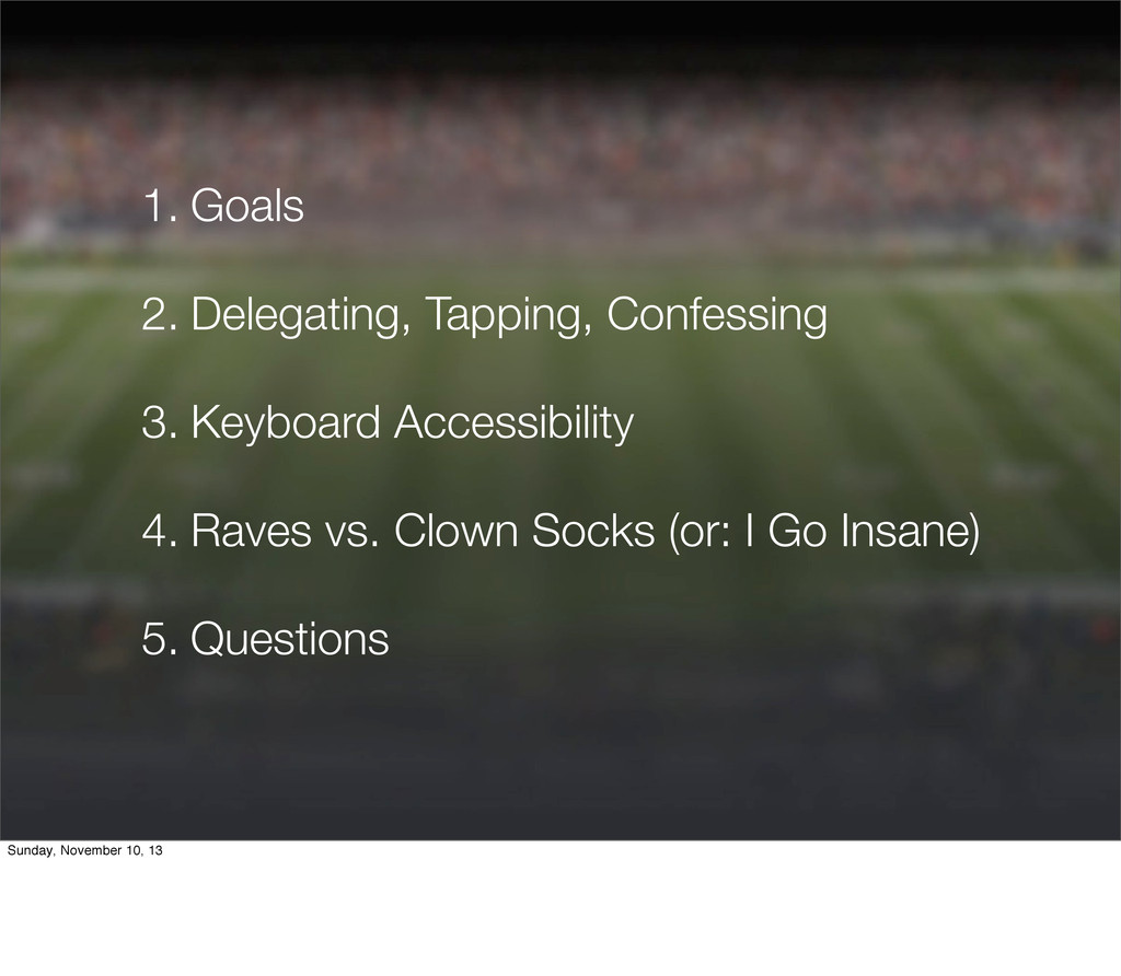 1. Goals 2. Delegating, Tapping, Confessing 3. ...
