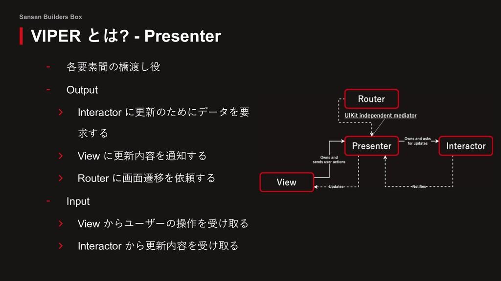 Sansan Builders Box VIPER とは? - Presenter - 各要素...