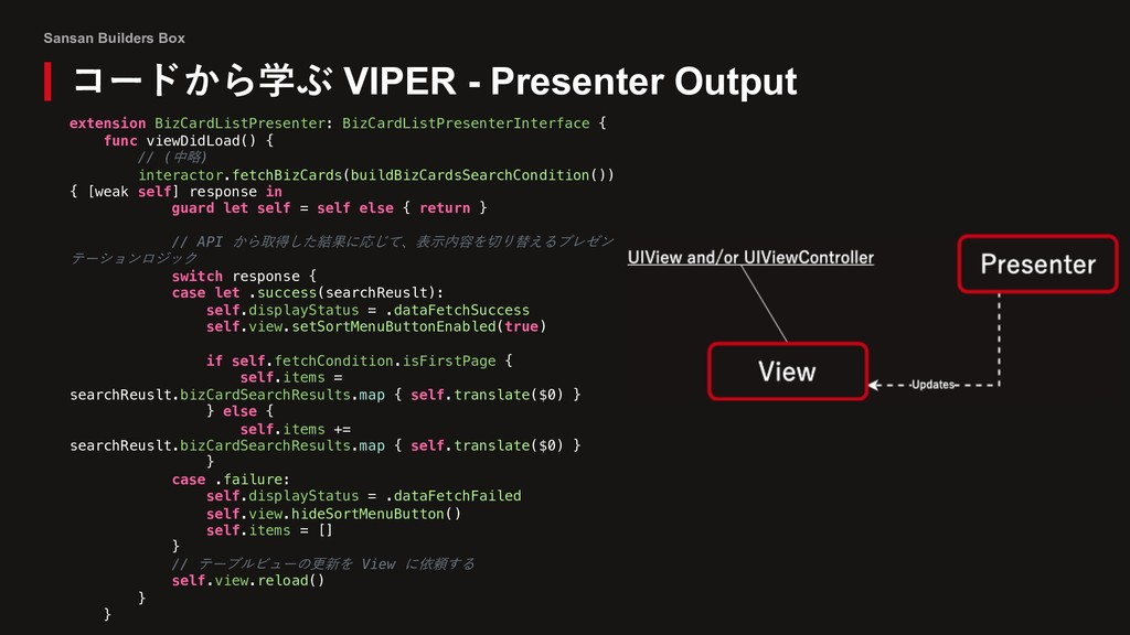 Sansan Builders Box コードから学ぶ VIPER - Presenter O...