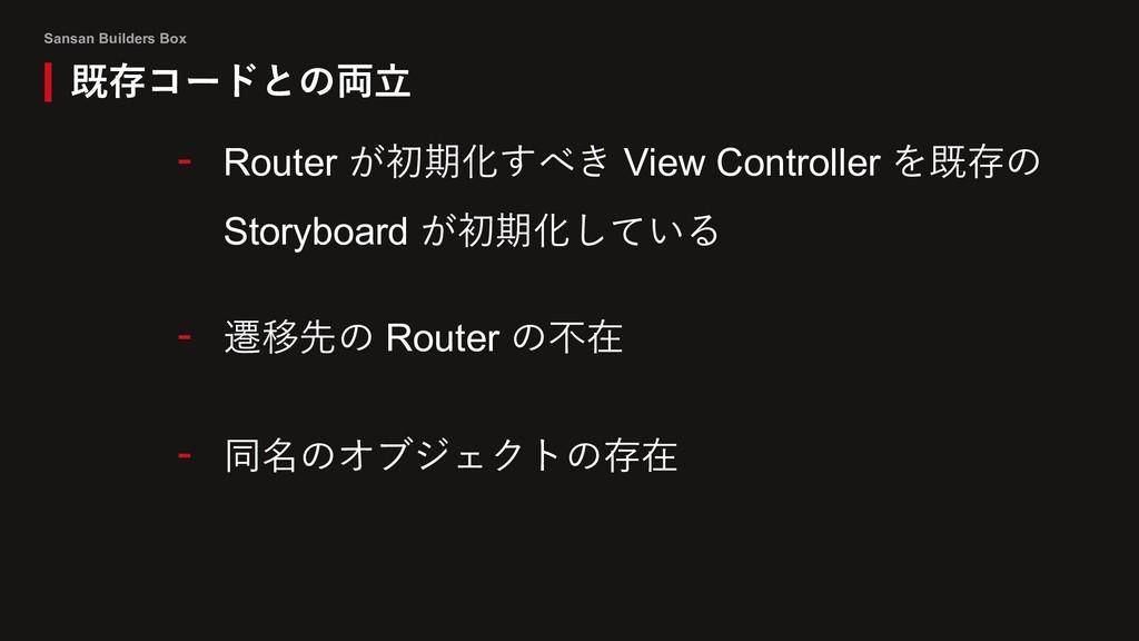 Sansan Builders Box 既存コードとの両⽴ - Router が初期化すべき ...