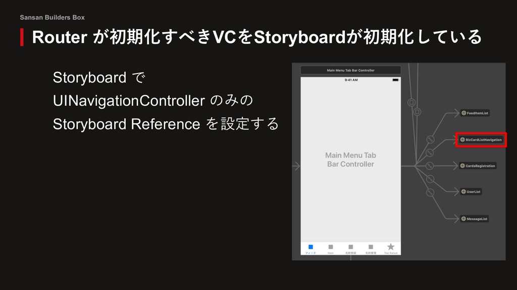 Sansan Builders Box Router が初期化すべきVCをStoryboard...