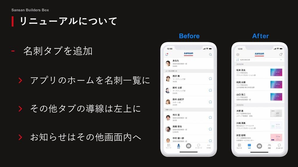 Sansan Builders Box リニューアルについて - 名刺タブを追加 > アプリの...