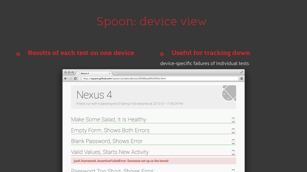Spoon: device view Results of each test on one ...