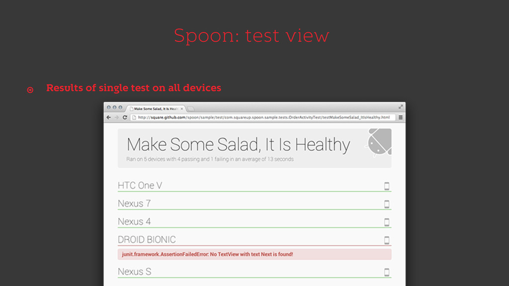 Spoon: test view Results of single test on all ...