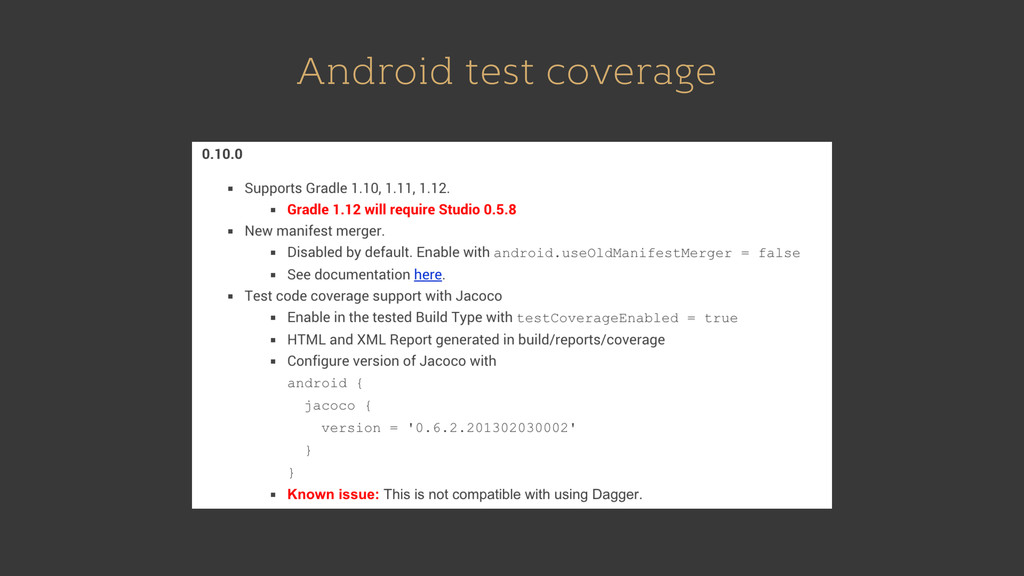 Android test coverage