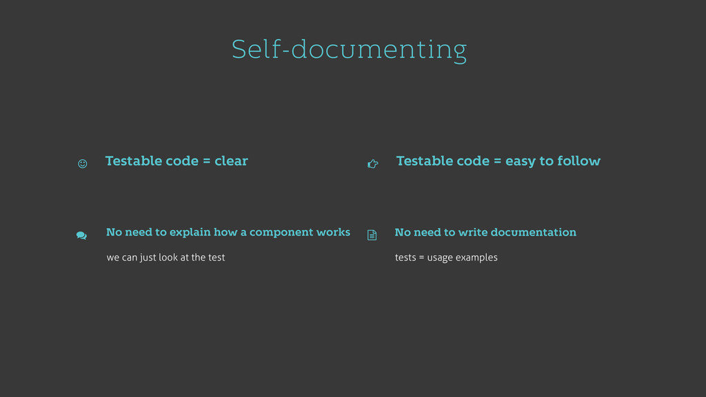 Self-documenting Testable code = clear Testable...
