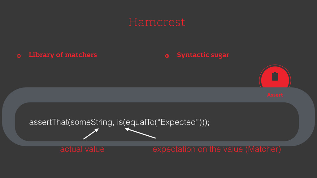Hamcrest Library of matchers Ŷ Syntactic sugar ...