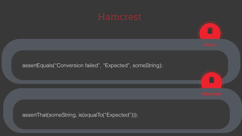 "Hamcrest Assert Hamcrest assertEquals(""Conversi..."