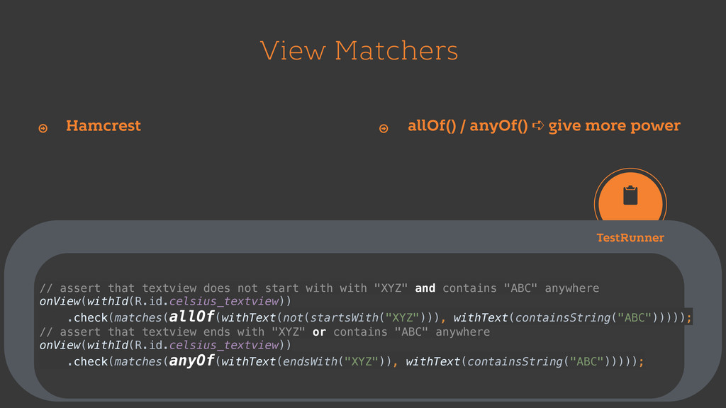 View Matchers Hamcrest Ŷ allOf() / anyOf() ➪ gi...