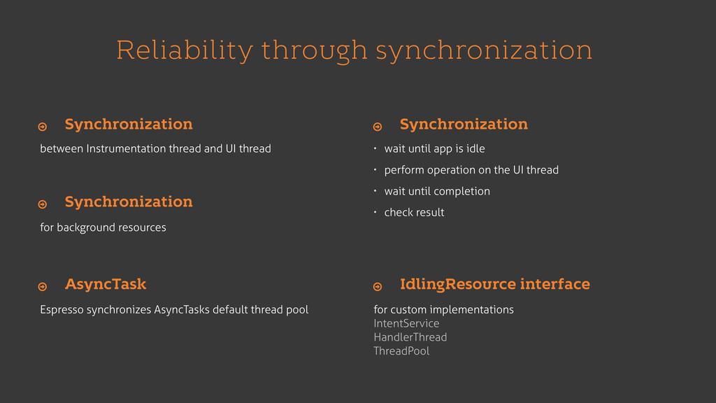 Reliability through synchronization between Ins...