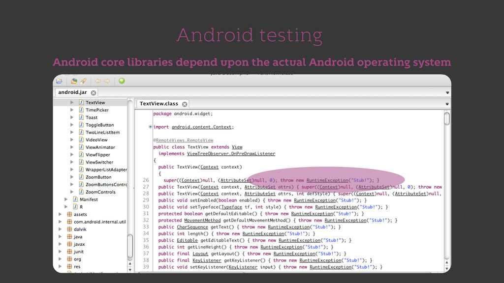 Android testing Android core libraries depend u...