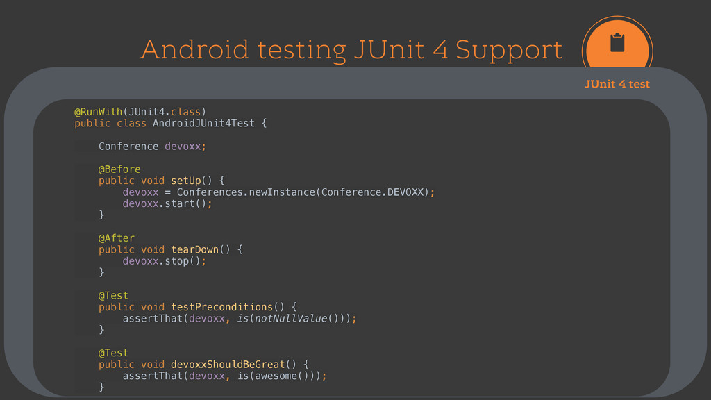 Android testing JUnit 4 Support JUnit 4 test @R...
