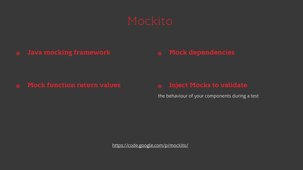 Mockito the behaviour of your components during...