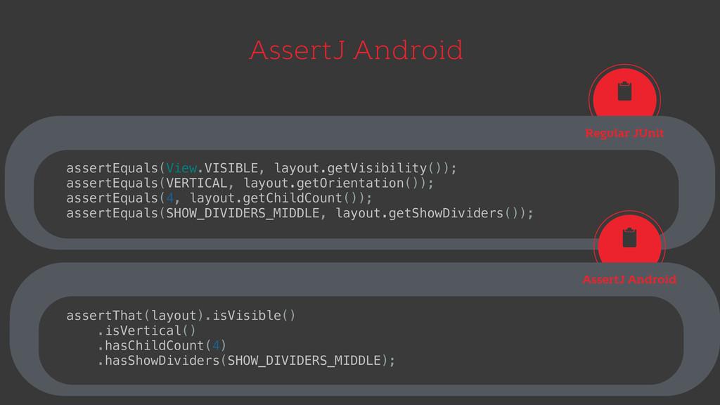 AssertJ Android Regular JUnit assertEquals(View...