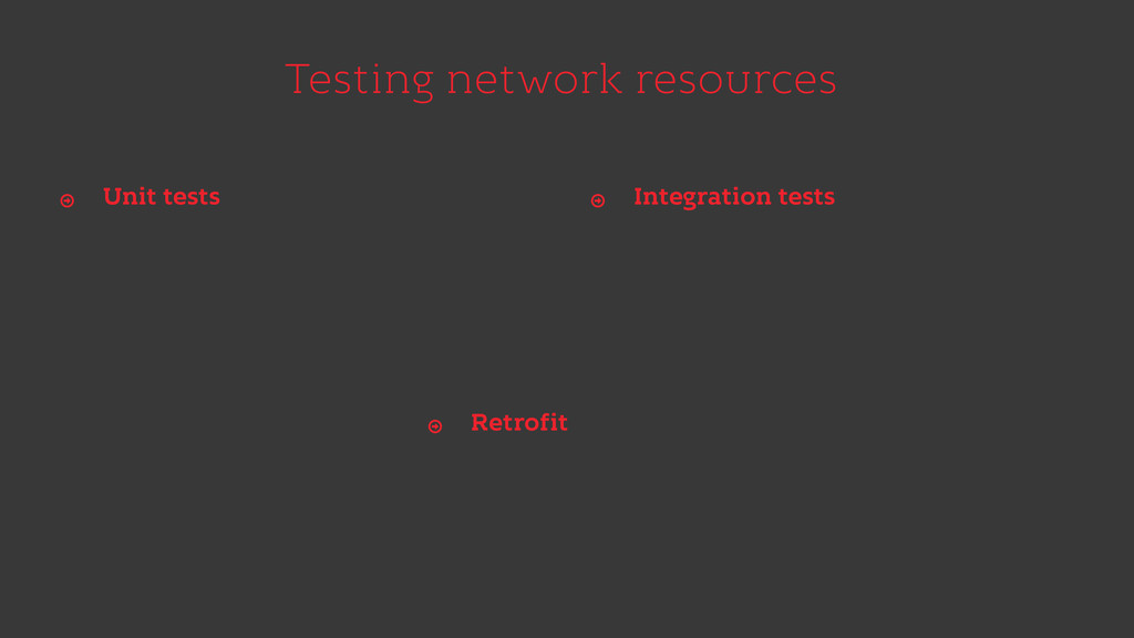 Testing network resources Unit tests Ŷ Integrat...