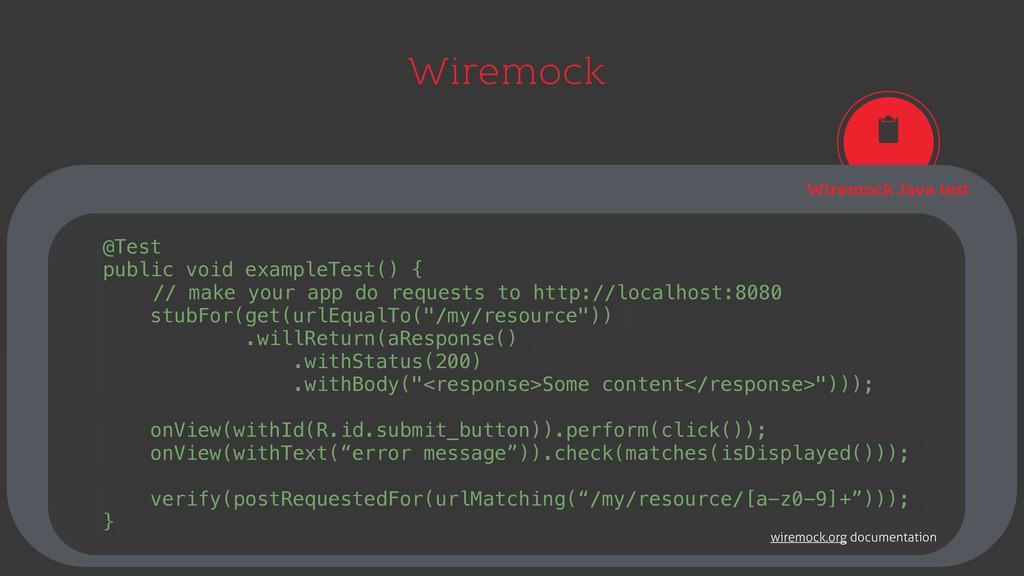 Wiremock Wiremock Java test @Test public void e...