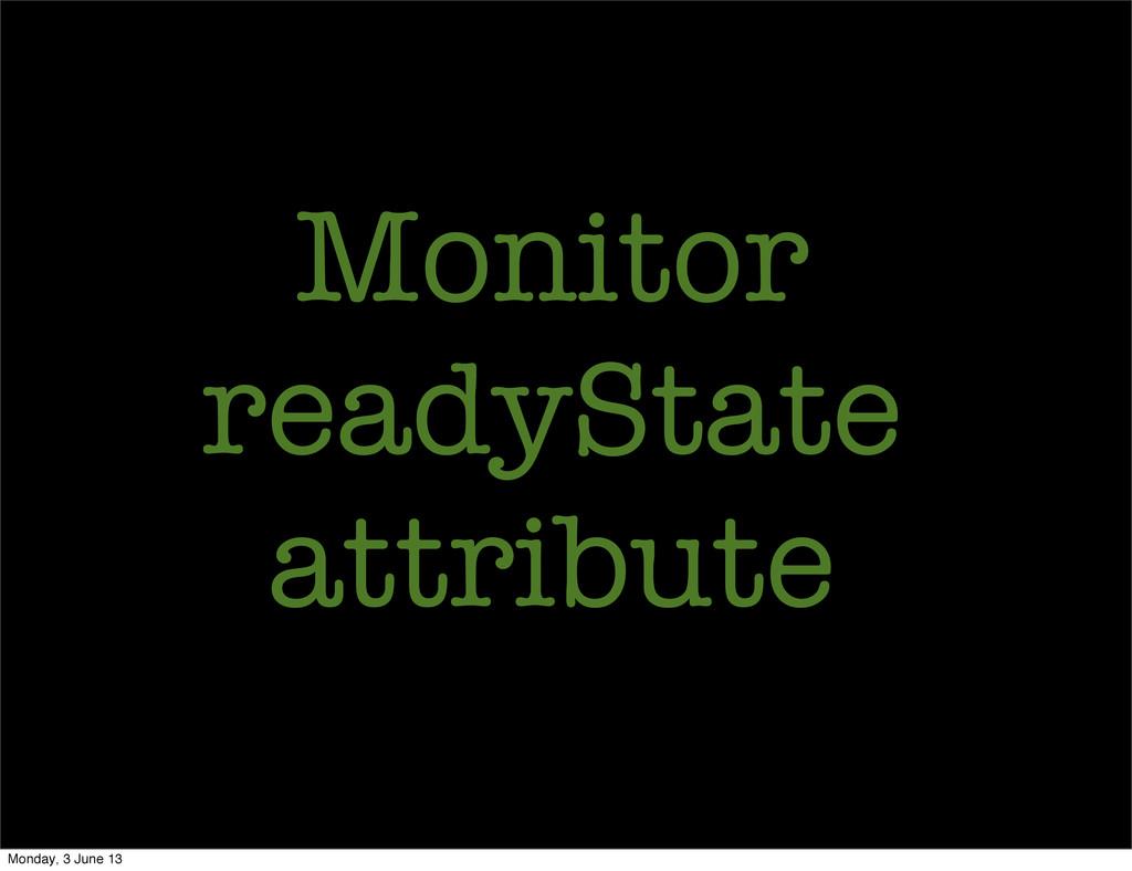 Monitor readyState attribute Monday, 3 June 13