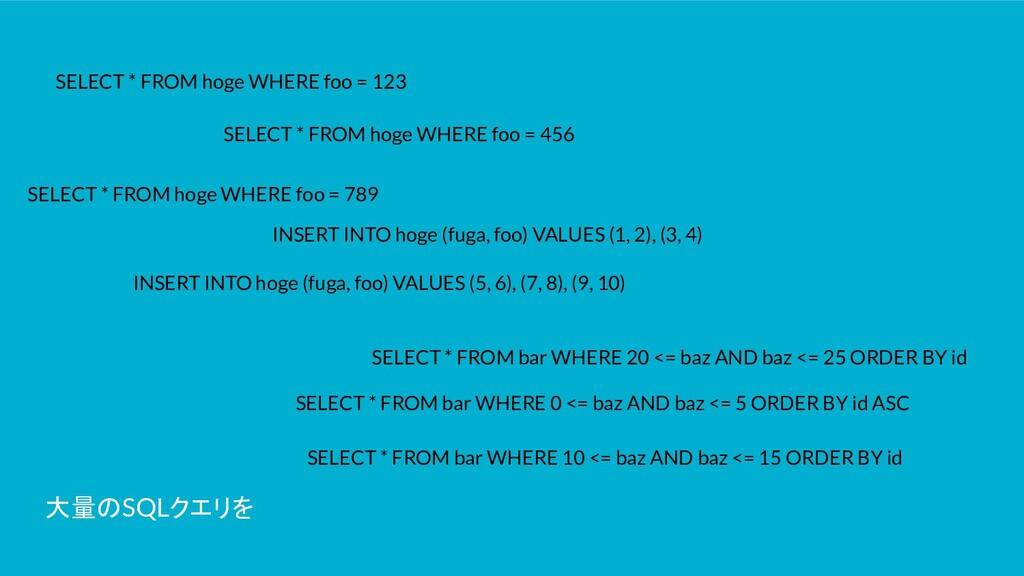 大量のSQLクエリを SELECT * FROM hoge WHERE foo = 123 S...