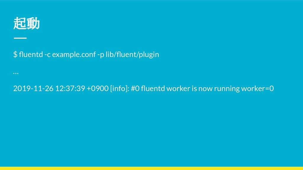 起動 $ fluentd -c example.conf -p lib/fluent/plugin...