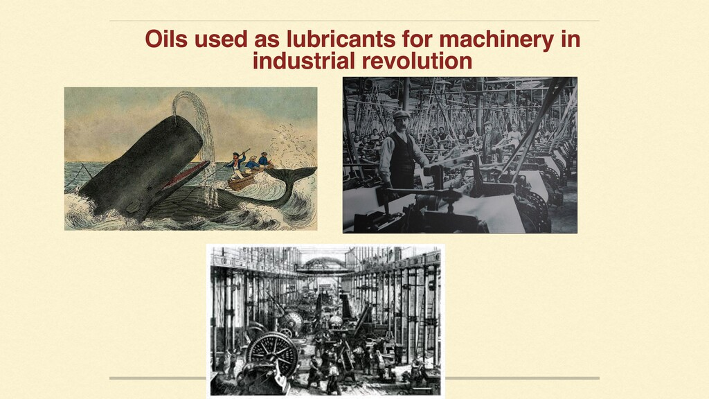 Oils used as lubricants for machinery in indust...