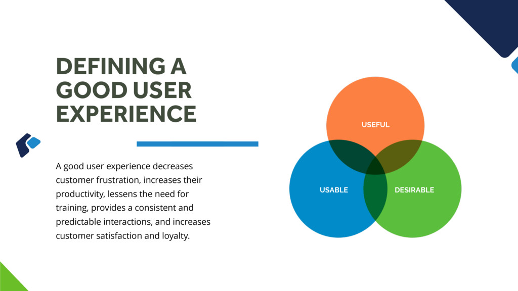 DEFINING A GOOD USER EXPERIENCE A good user exp...