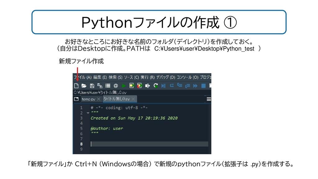 Pythonファイルの作成 ① お好きなところにお好きな名前のフォルダ(デイレクトリ)を作成し...