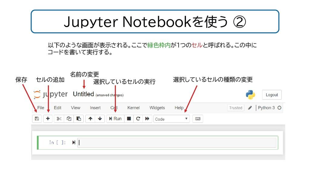 Jupyter Notebookを使う ② 以下のような画面が表示される。ここで緑色枠内が1つ...