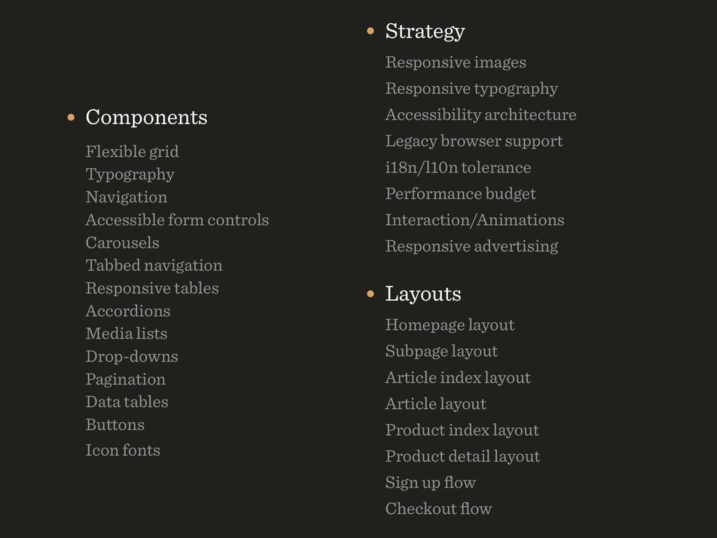 • Strategy Responsive images Responsive typog...