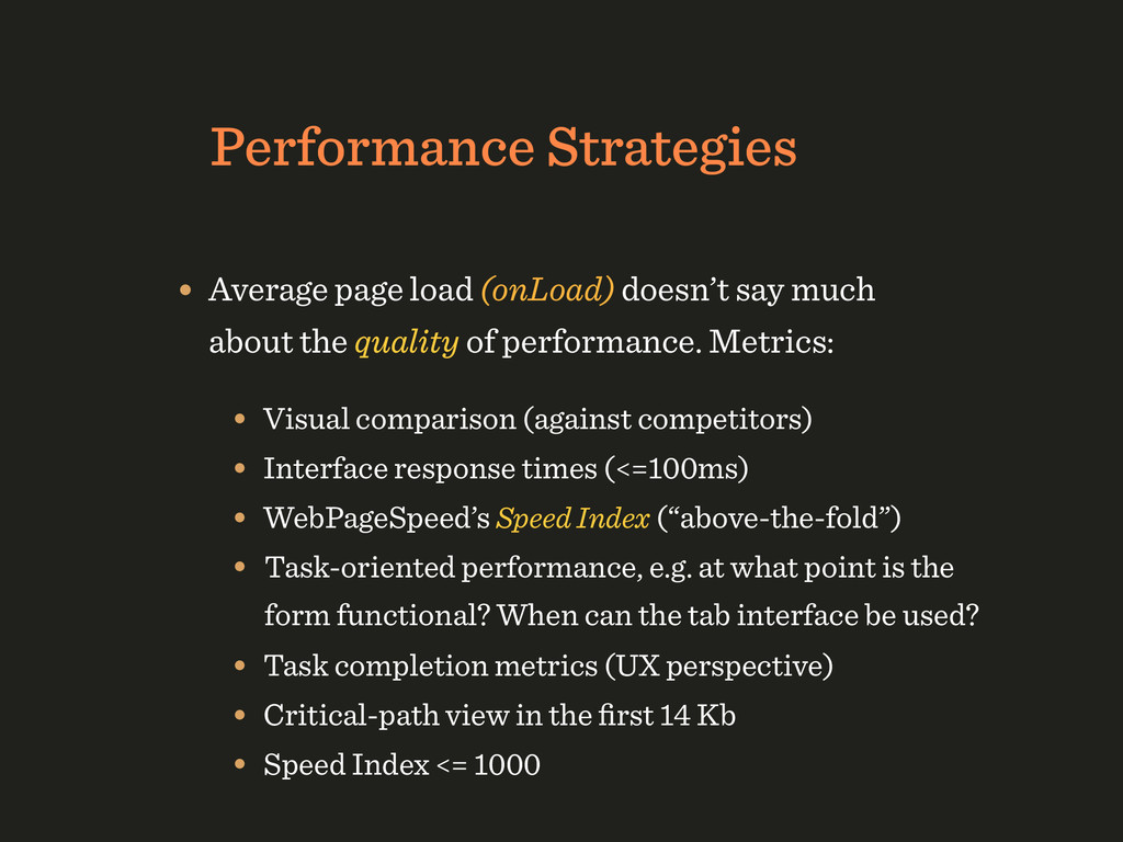 Performance Strategies • Average page load (onL...