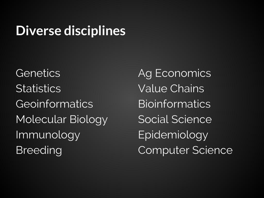 Diverse disciplines Genetics Statistics Geoinfo...