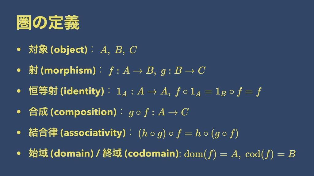 ݍͷఆٛ • ର (object)ɿ • ࣹ (morphism)ɿ • ߃ࣹ (iden...