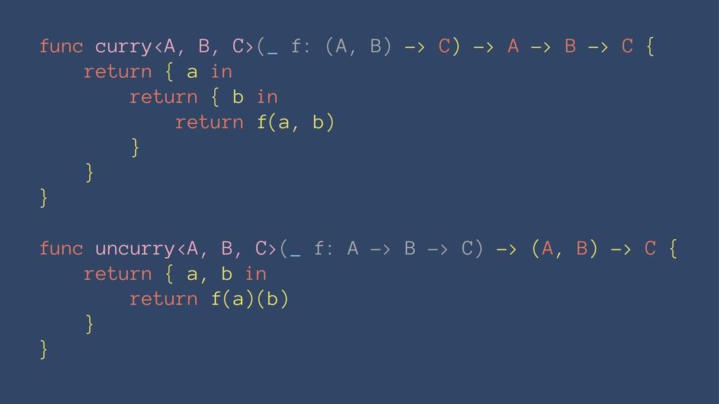 func curry<A, B, C>(_ f: (A, B) -> C) -> A -> B...