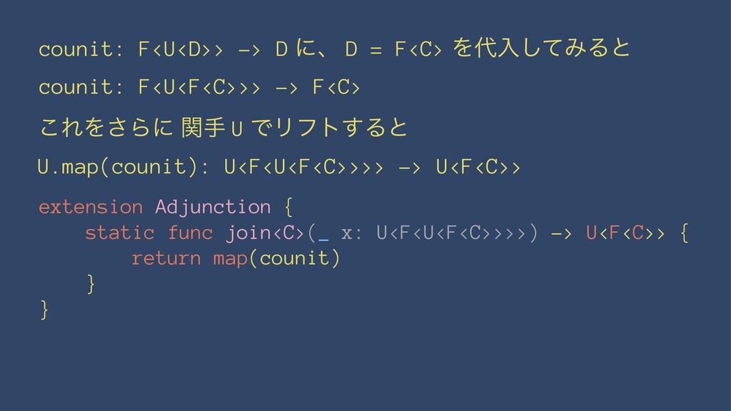 counit: F<U<D>> -> D ʹɺ D = F<C> Λೖͯ͠ΈΔͱ couni...