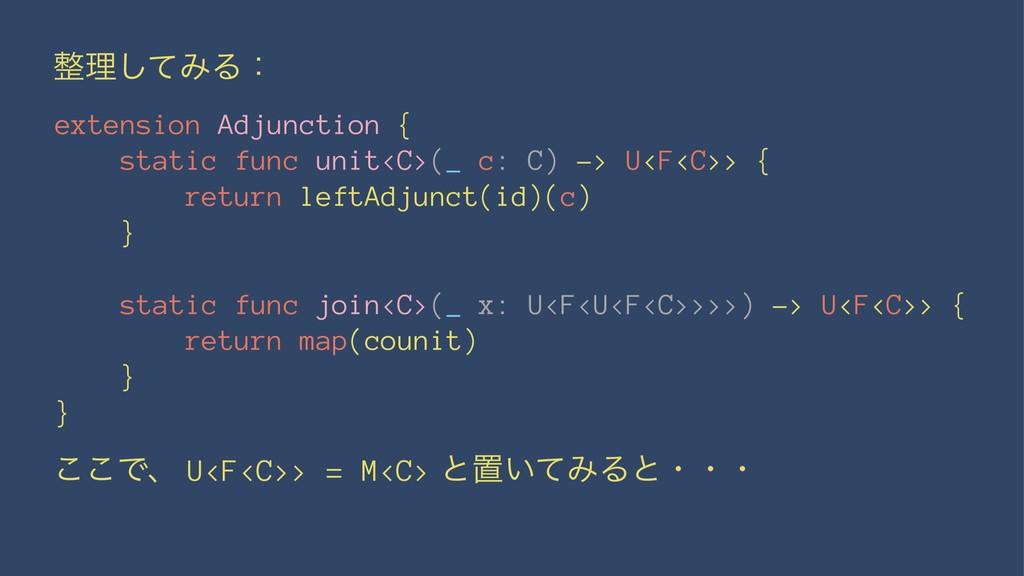 ཧͯ͠ΈΔɿ extension Adjunction { static func unit...