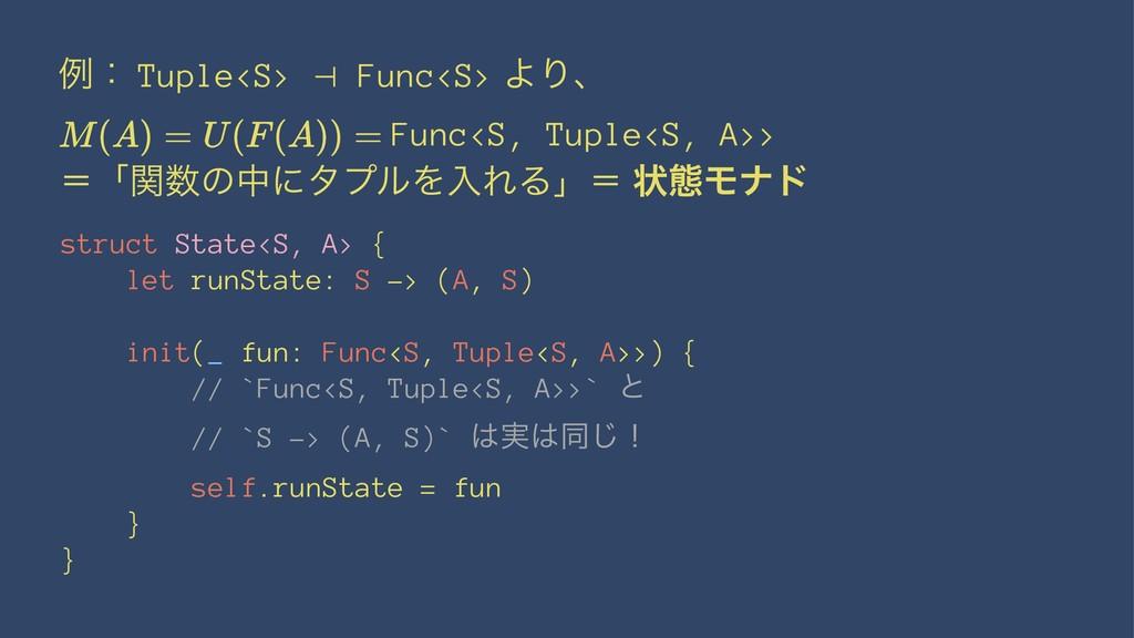 ྫɿ Tuple<S> ⊣ Func<S> ΑΓɺ Func<S, Tuple<S, A>> ...
