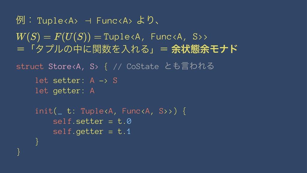 ྫɿ Tuple<A> ⊣ Func<A> ΑΓɺ Tuple<A, Func<A, S>> ...