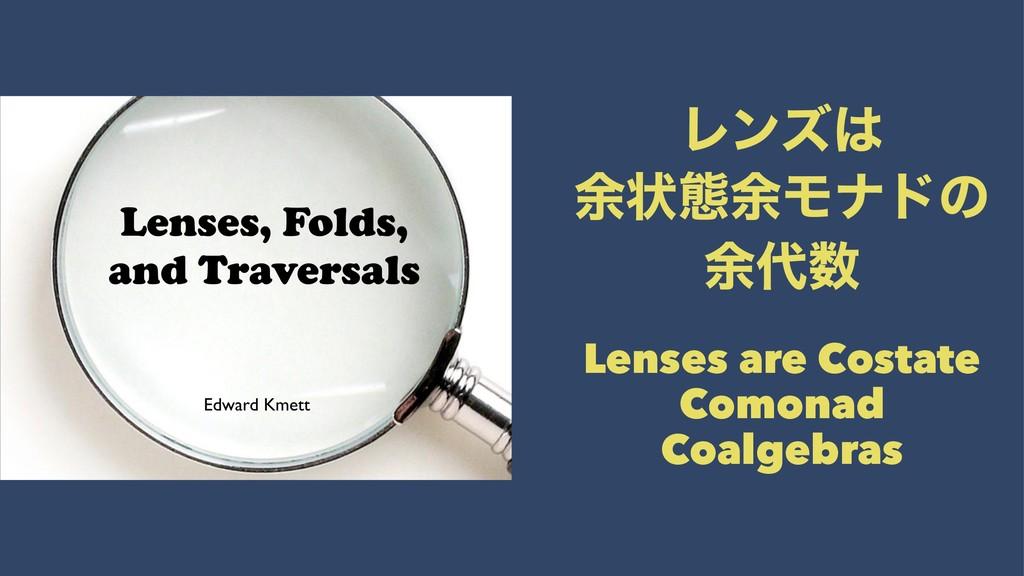 Ϩϯζ ༨ঢ়ଶ༨Ϟφυͷ ༨ Lenses are Costate Comonad Co...