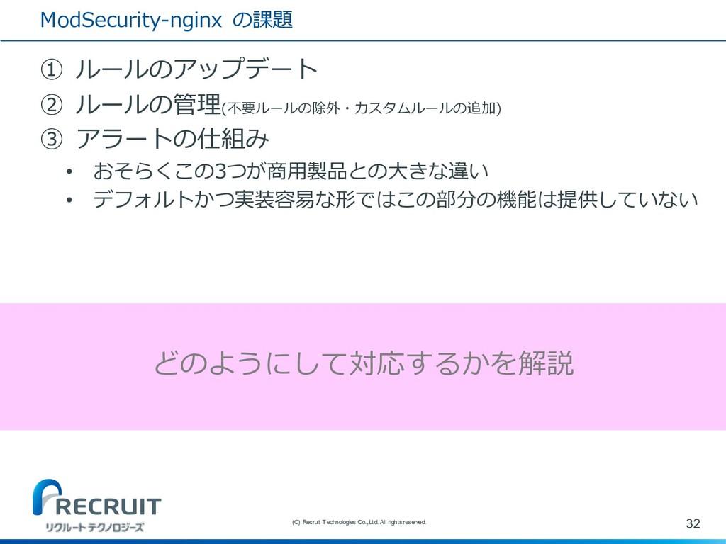 ModSecurity-nginx の課題 ① ルールのアップデート ② ルールの管理(不要ル...